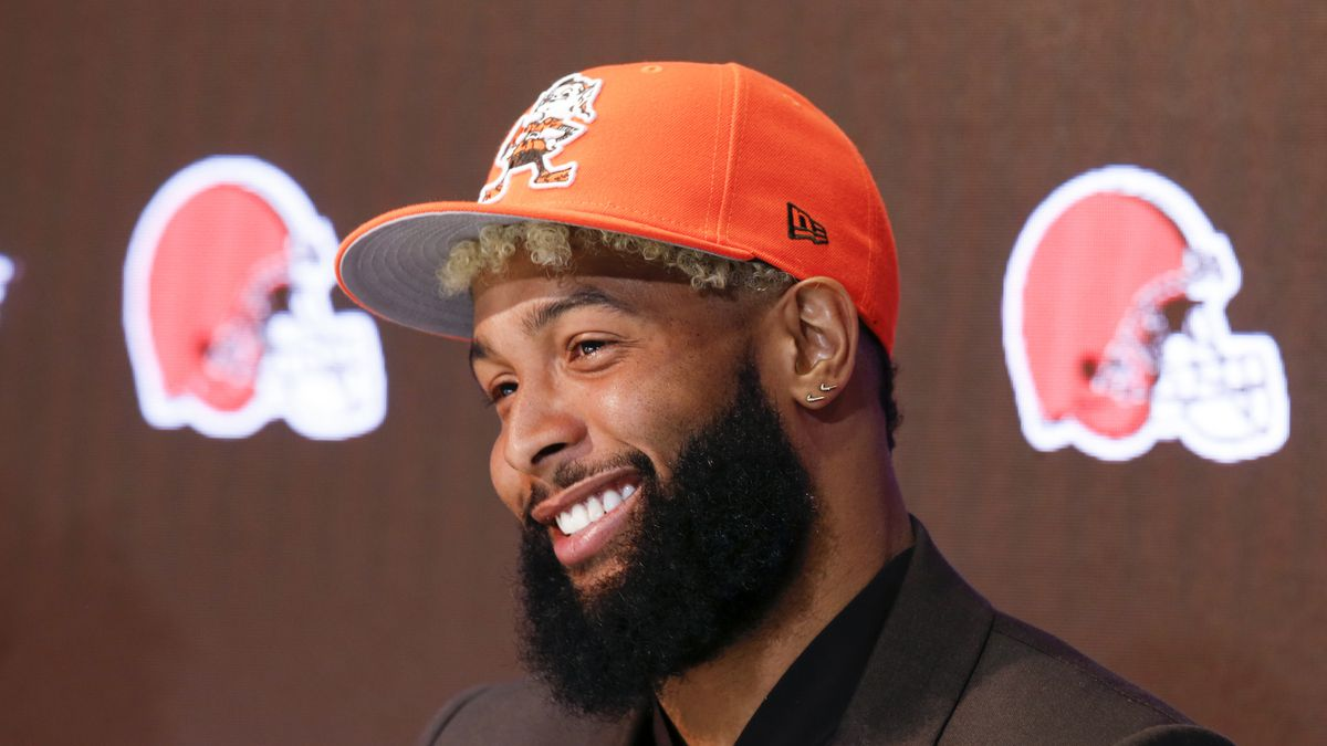 Cleveland Browns' Odell Beckham answers questions during a news conference Monday, April 1,...