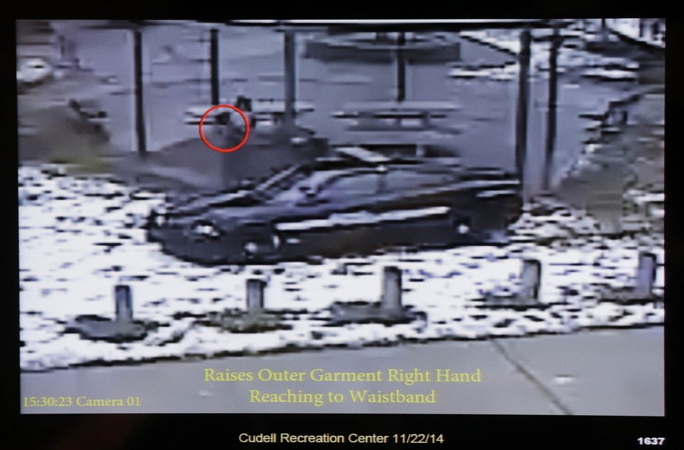 This still image taken from a surveillance video played at a news conference held by Cleveland...