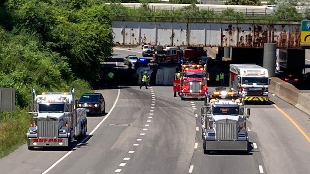 Truck crash on I-90