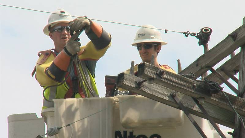 FirstEnergy workers trying to repair the damage from Wednesday's storm.