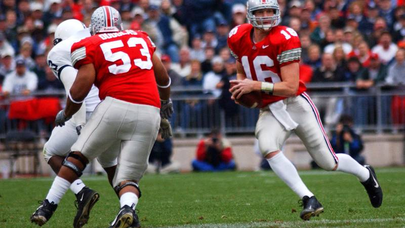 ** FILE ** Ohio State's Ivan Douglas (53) blocks against Penn State for quarterback Craig...