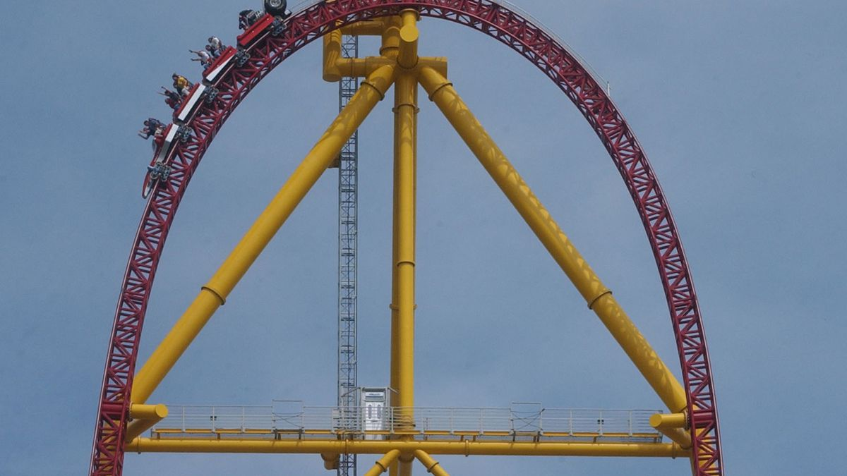 Riders on the Top Thrill Dragster speed along  Thurday May 1, 2003, at Cedar Point Amusement...