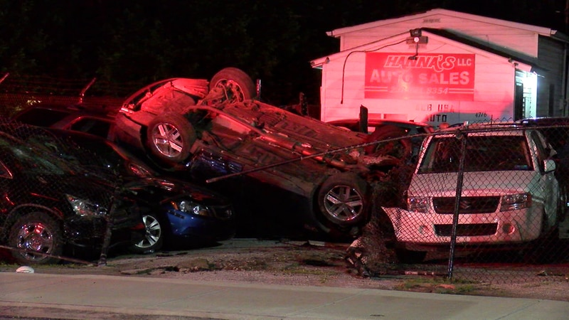Car flips, crashes into vehicles Cleveland car lot