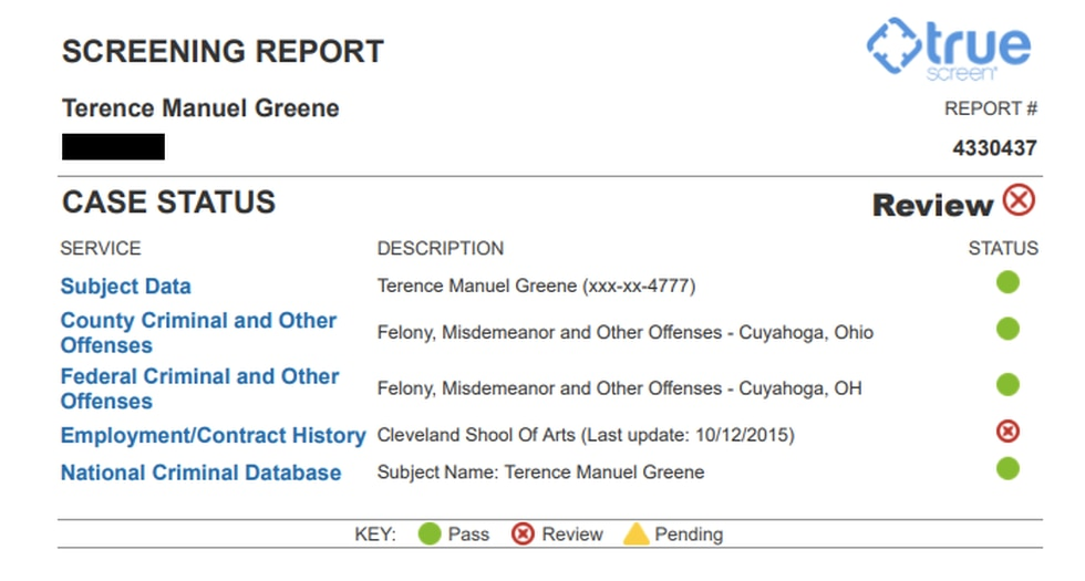 Copy of the background check Tri-C conducted on Terence Greene prior to hiring him in 2015