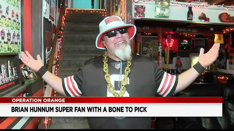 Brian Hunnum, Cleveland Browns superfan, welcomes us into his Dawg House
