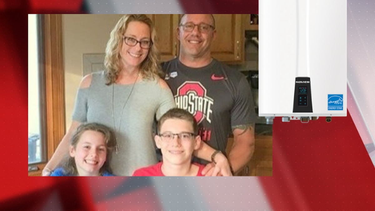 The Reitter family and a Navien tankless water heater (Source: GoFundMe/Navien)