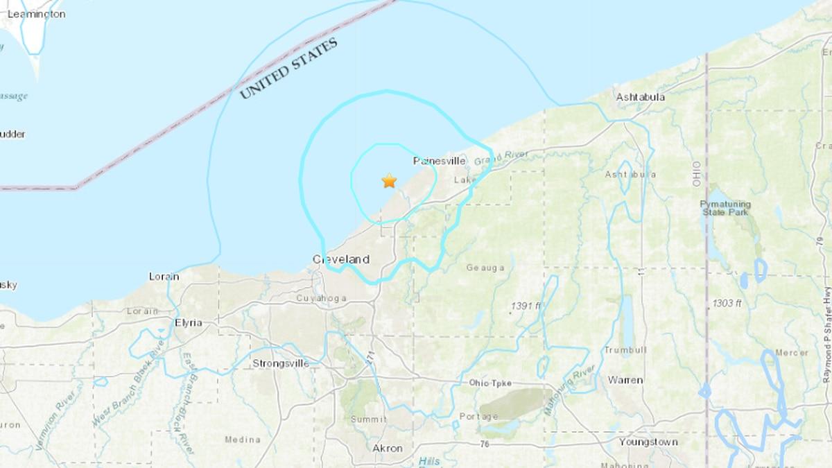 Map shows how far rumbles were felt in Northeast Ohio