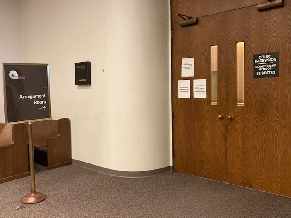 Arraignments for protesters were held by video monitor due to the pandemic at the Cuyahoga...