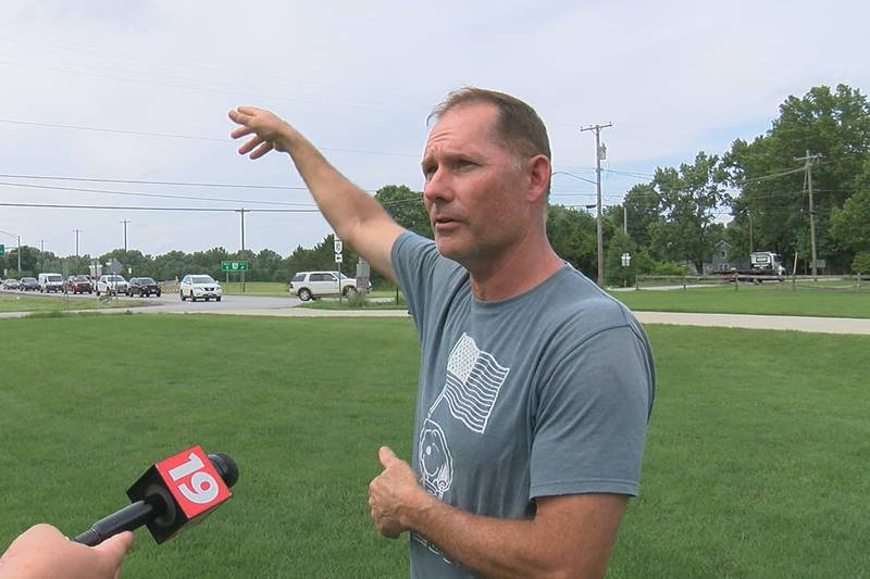 Scott Brosky points to an intersection where two crashes have been caught on camera since July...