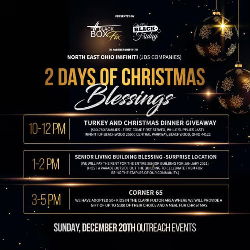 The 2 Days of Christmas Blessings is Dec. 19 and 20.