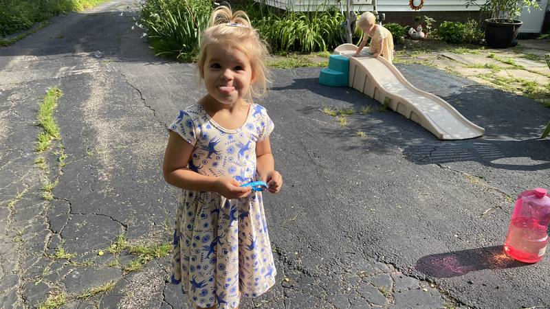 Four-year-old Upton McWilliams and her 21-month old sister, Crew, are two youngsters...