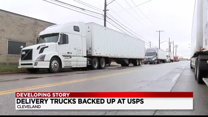 Tractor-trailers crowd street outside Broadway Avenue USPS Postal Office; drivers frustrated...