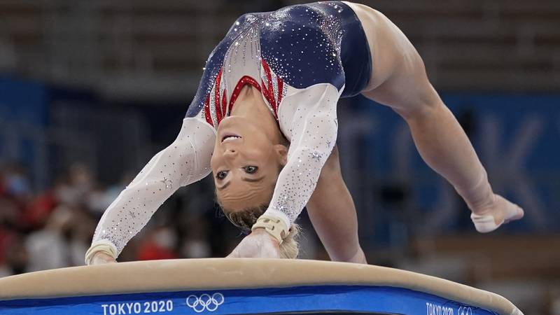 MyKayla Skinner of the United States performs on the vault during the artistic gymnastics...