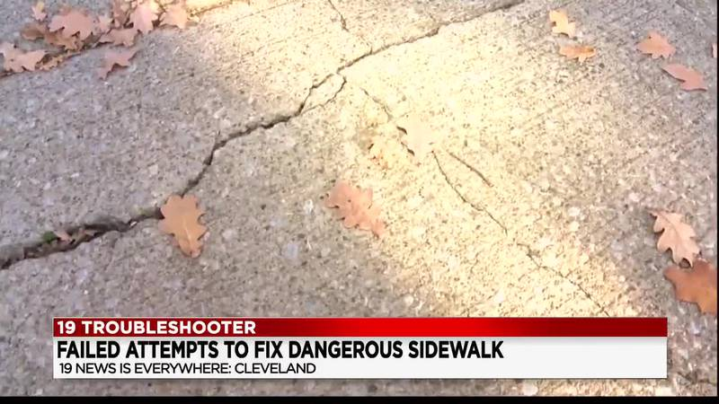Cleveland woman wants city to fix damaged sidewalk but they're denying her claims