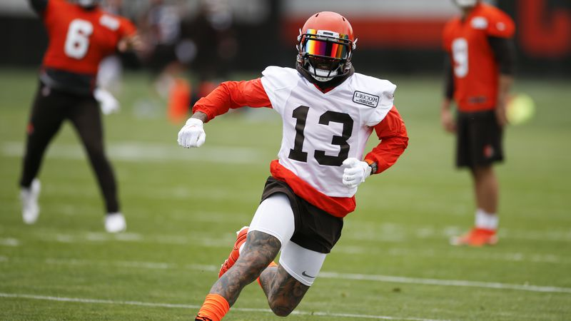 Cleveland Browns wide receiver Odell Beckham Jr. runs a drill at the team's NFL football...