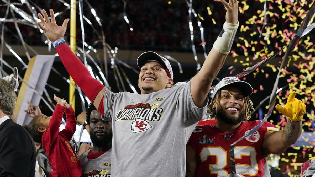 FILE - In this Feb. 2, 2020, file photo, Kansas City Chiefs' Patrick Mahomes, left, and Tyrann...