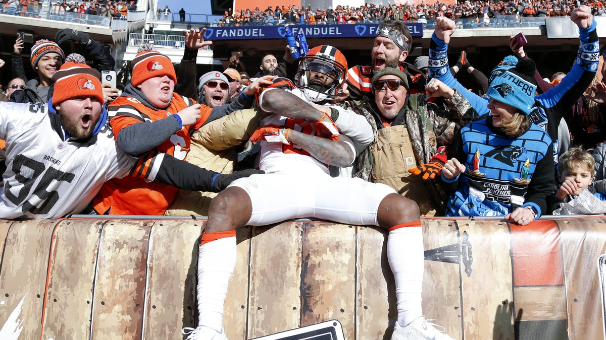 Cleveland Browns wide receiver Jarvis Landry celebrates after scoring a 51-yard touchdown...