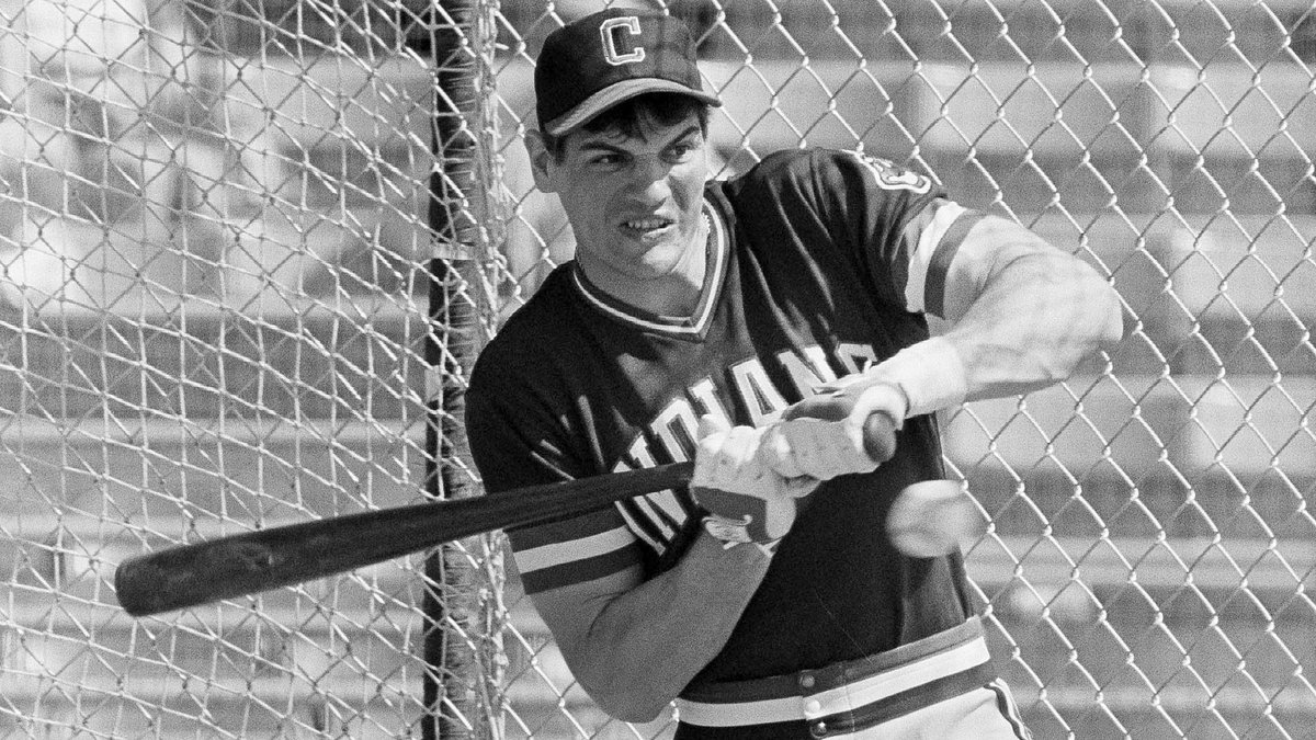 FILE - In this March 5, 1982, file photo, Cleveland Indians left fielder Joe Charboneau gets...