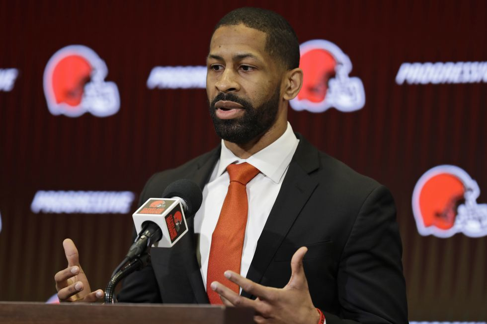 Cleveland Browns general manager Andrew Berry speaks during a news conference at the NFL...