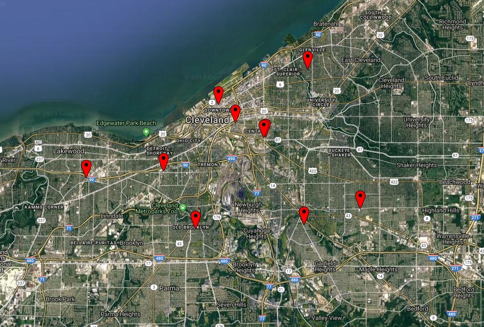 Map of shootings in Cleveland on New Year's Eve and New Year's Day.