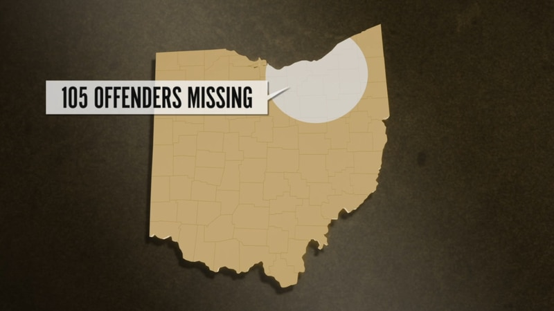 At least 105 offenders, more than a third of the state's total, are missing from the Cleveland...