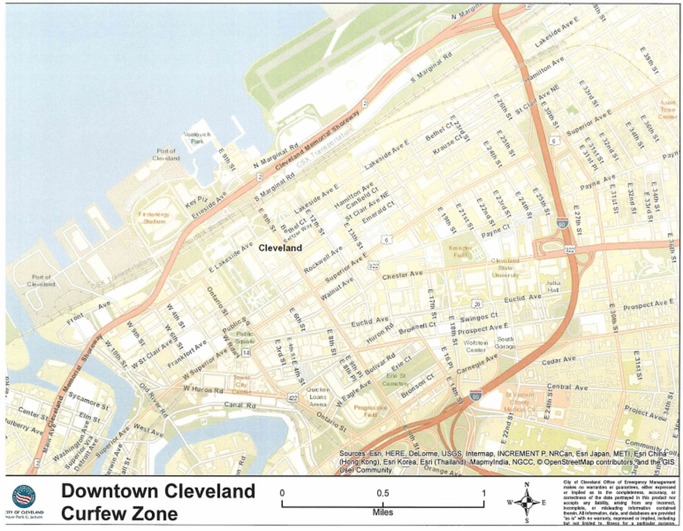 Downtown Cleveland curfew extended from noon Sunday to Tuesday night