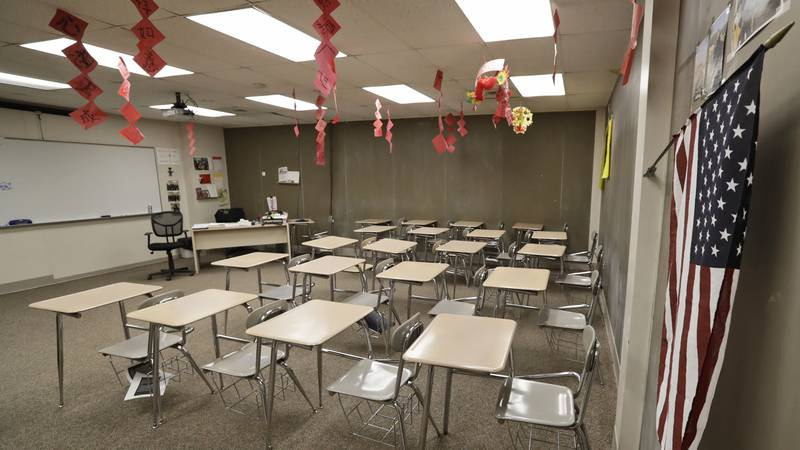 The empty world language room is shown at Orange High School in Pepper Pike. Ohio. Gov. Mike...