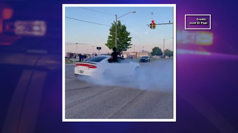Video posted to Facebook shows a muscle car spinning donuts with someone hanging out the window...