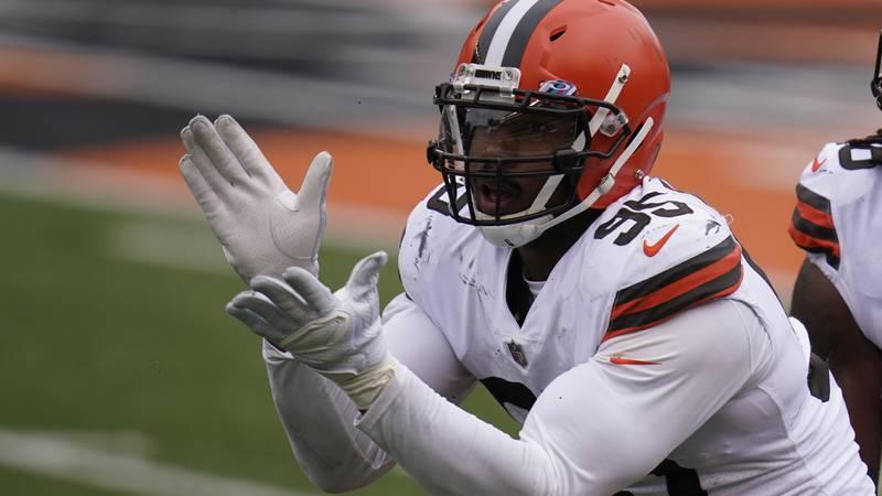 Cleveland Browns' Myles Garrett (AP Photo/Michael Conroy)