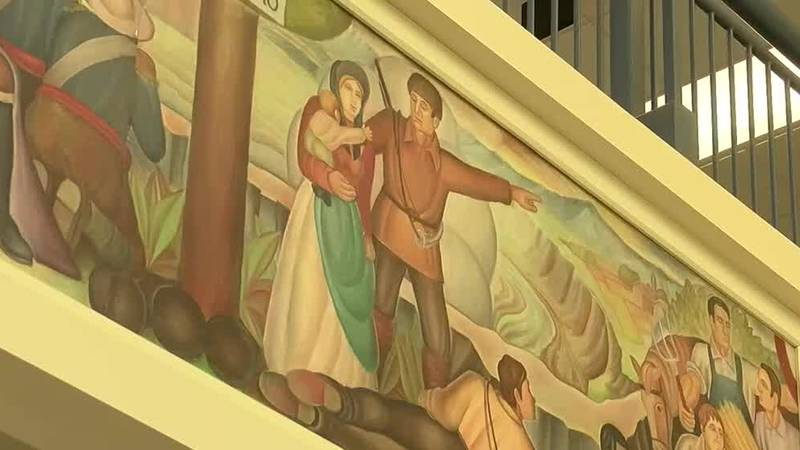 Mural covered at Canton high school after concerns of its slavery images