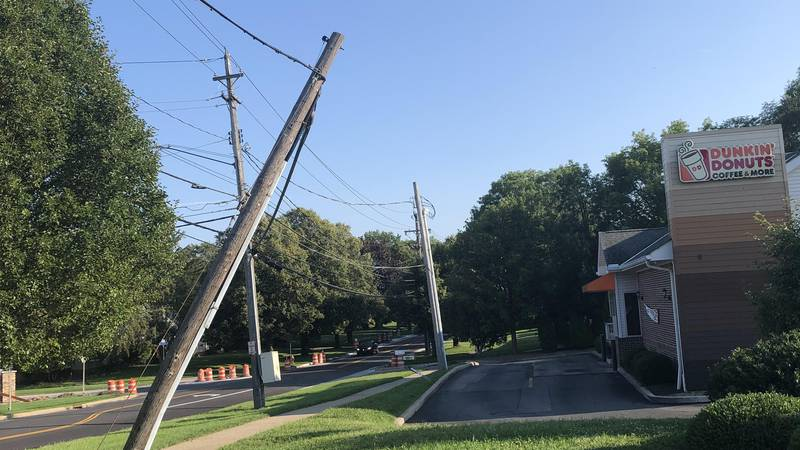 The pole was damaged in a storm two weeks ago and it still has not been repaired.