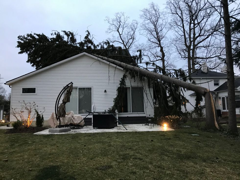 A Rocky River family is okay after a tree fell on their home.