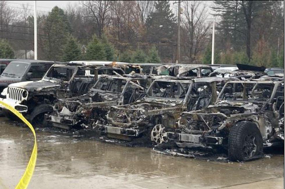 Vehicles damaged at Mayfield Village car dealership.