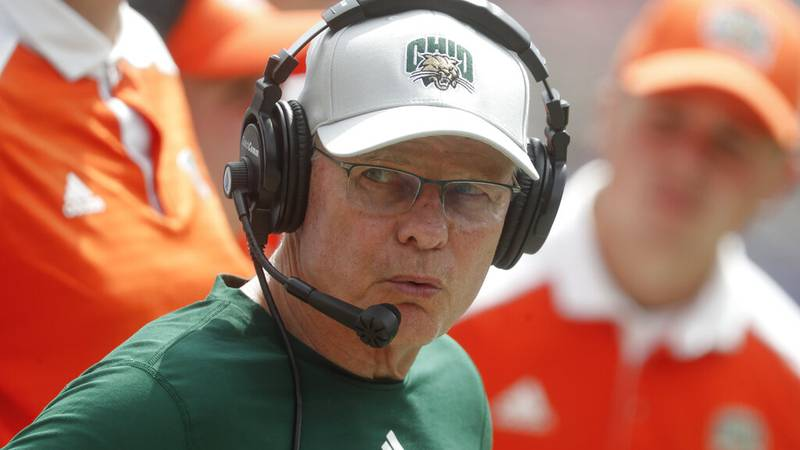 FILE - Ohio head coach Frank Solich watches along the sideline as his team plays against...