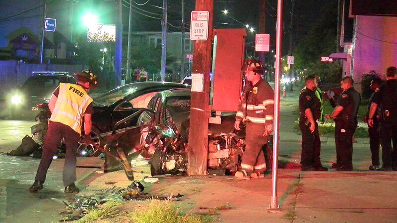 Crews clean up after a car crash that sent one person to the hospital in critical condition.