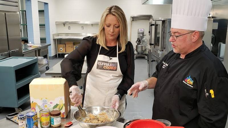 CMSD Executive Chef Tim Wright prepares a noodle salad dish with Jen Picciano