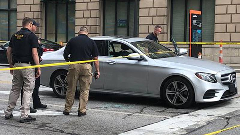Cleveland police said the victim was shot in the hip while inside a car.