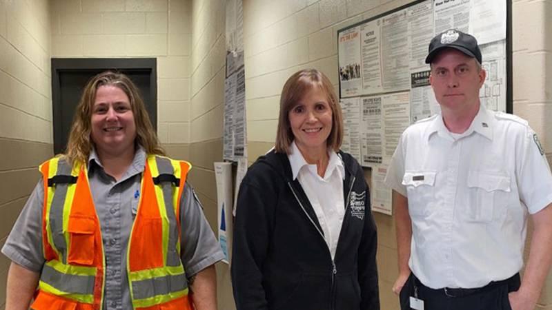 Toll Collector Jamie Corey (left) and Asst. Toll Plaza Supervisors Diane Libby (center) and...