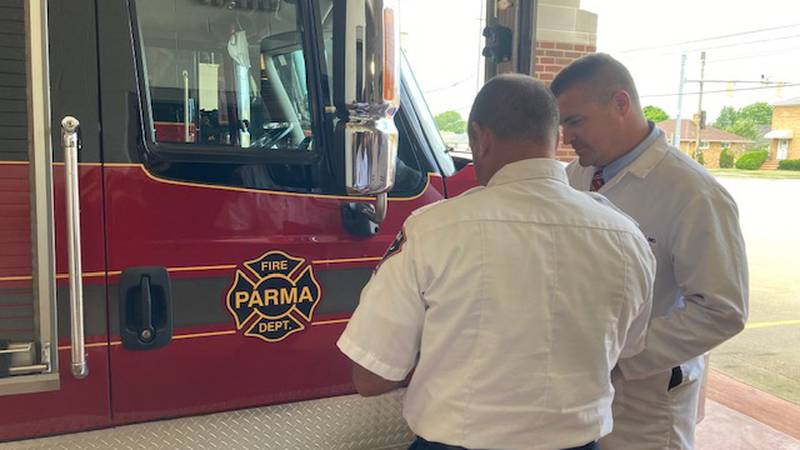 Captain Ricky Fetter with Parma Fire Department goes over stroke telemedicine protocols with...
