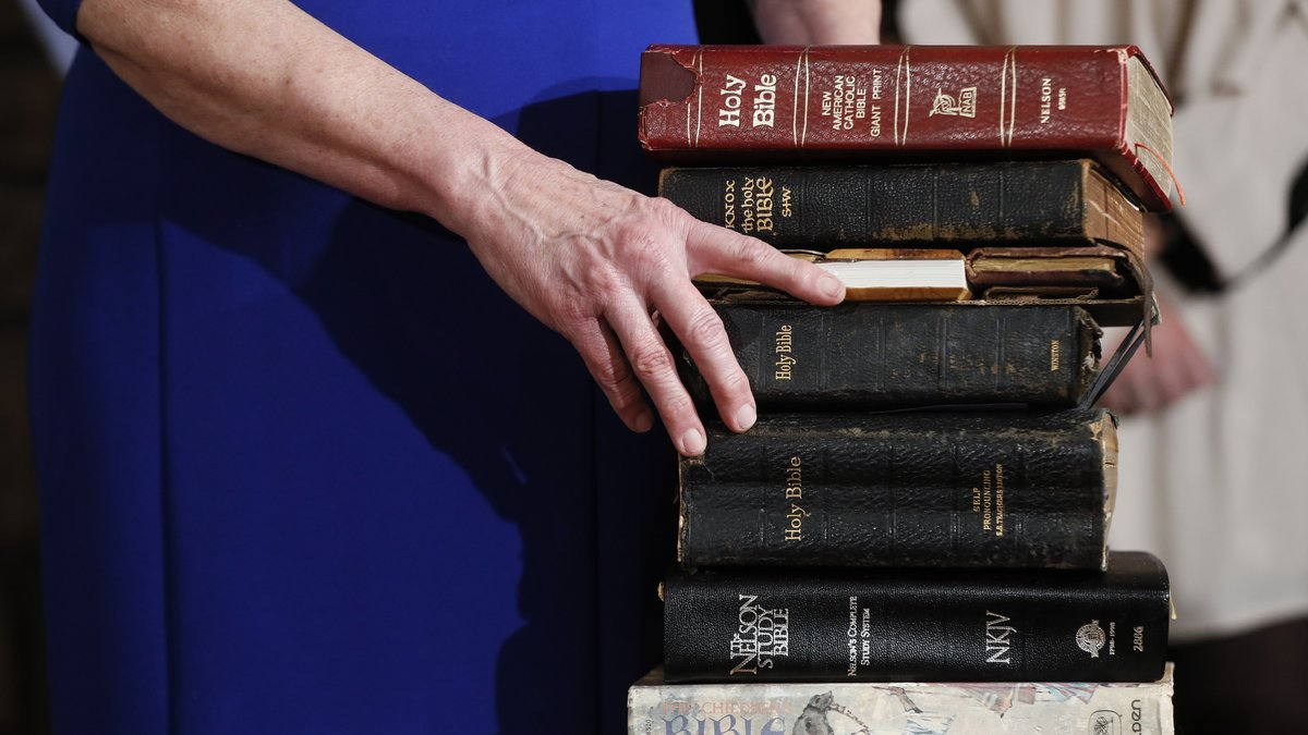 Fran DeWine explains the nine family bibles before her husband Gov.-elect Mike DeWine takes his...