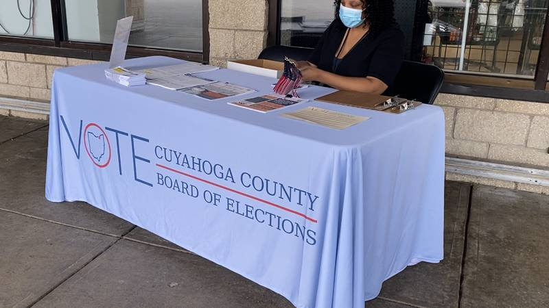 Thurayya Umbayemak manning a table at Dave's on Harvard to try to register voters for the...
