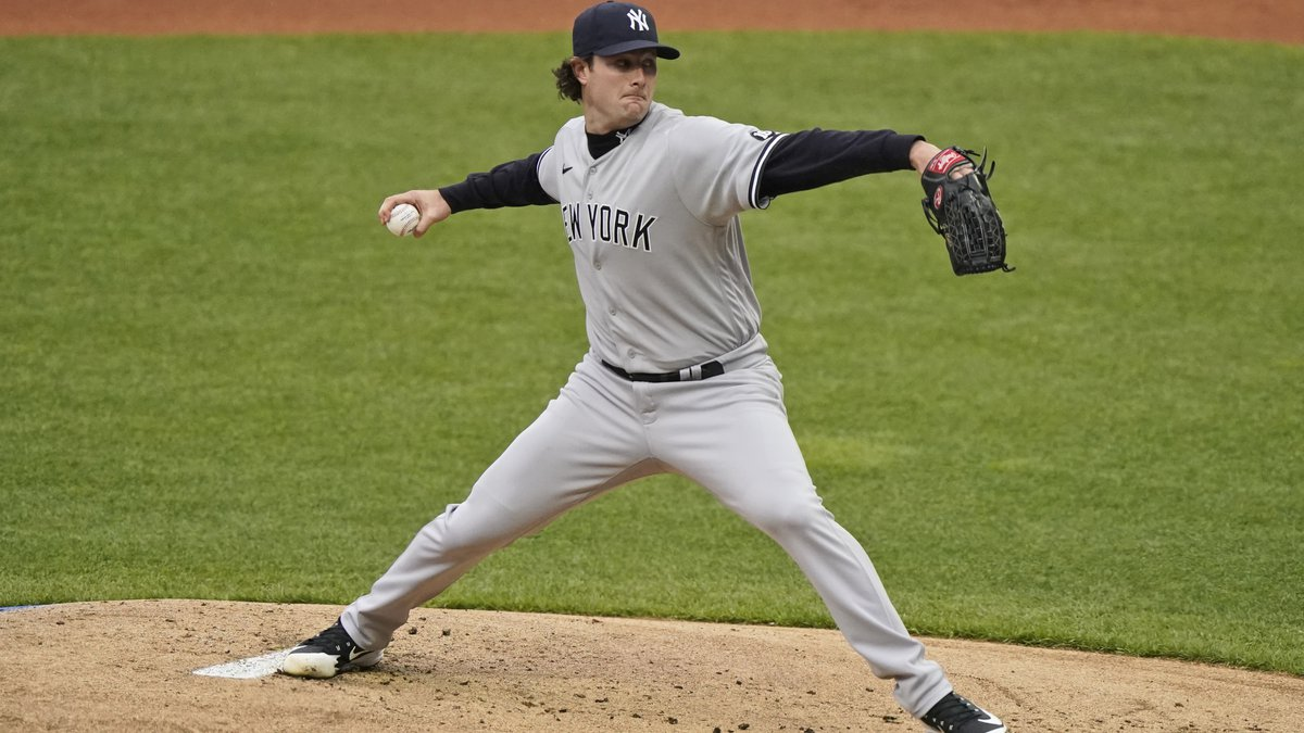 New York Yankees starting pitcher Gerrit Cole delivers in the first inning of a baseball game...