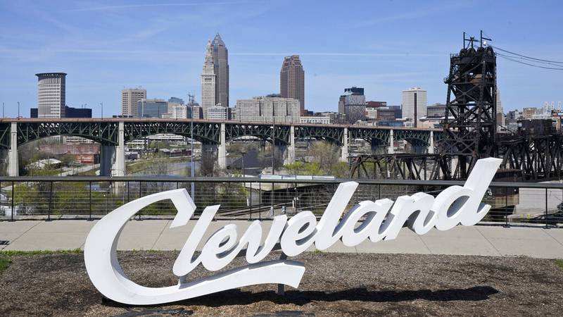The Cleveland skyline is shown, Tuesday, April 13, 2021, in Cleveland. After going all virtual...