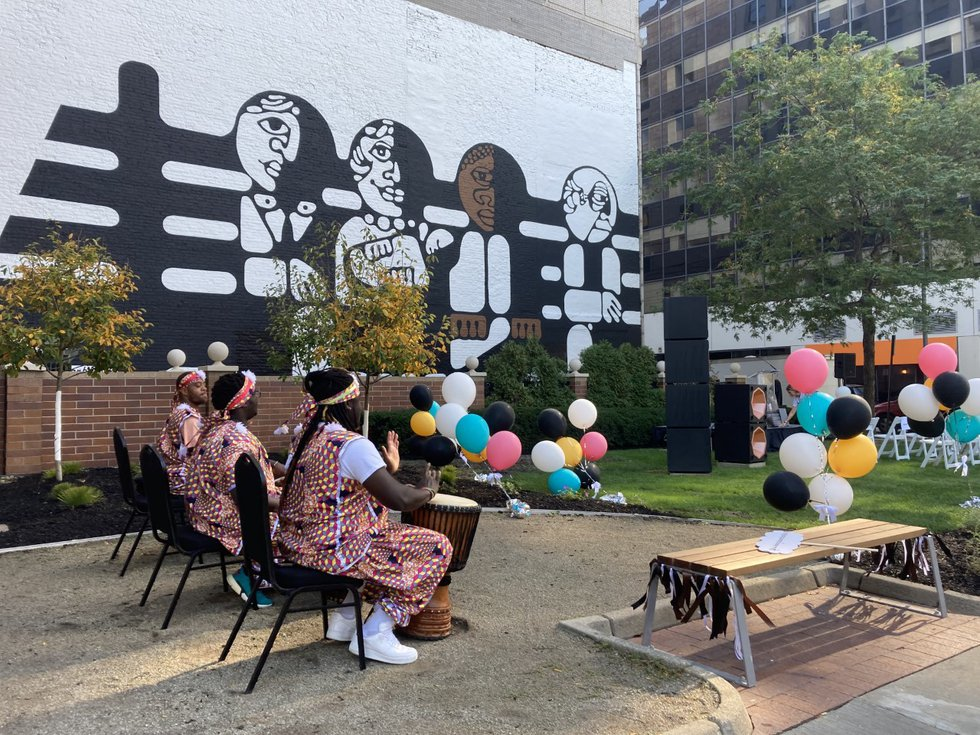 """Created in 1969 by the late John F. Morell, the """"Life is Sharing the Same Park Bench"""" mural was..."""