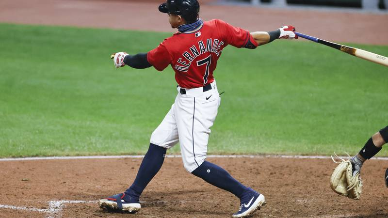 Cleveland Indians' Cesar Hernandez hits a game winning single off Pittsburgh Pirates relief...