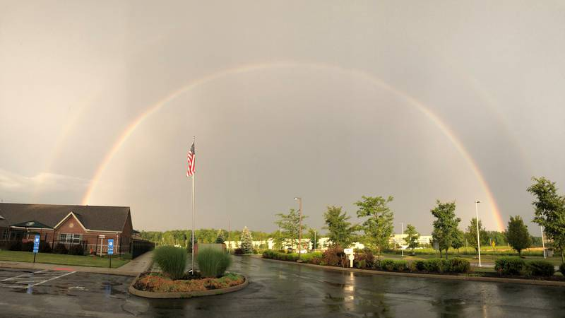 The conditions were right for rainbows across Northeast Ohio Tuesday.