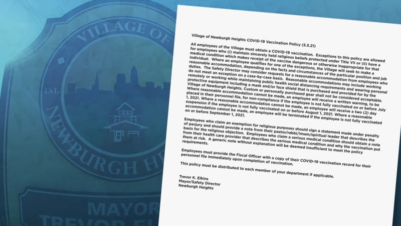 A new policy requires Newburg Heights employees, from office staff to emergency responders, to...