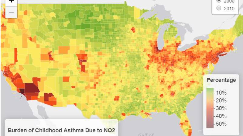 According to researchers the amount of childhood asthma cases in an area can be linked to...