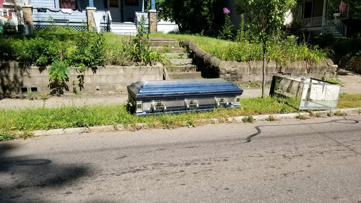 A casket in Akron was left for the trash. Some of the story behind it remains a Halloween...