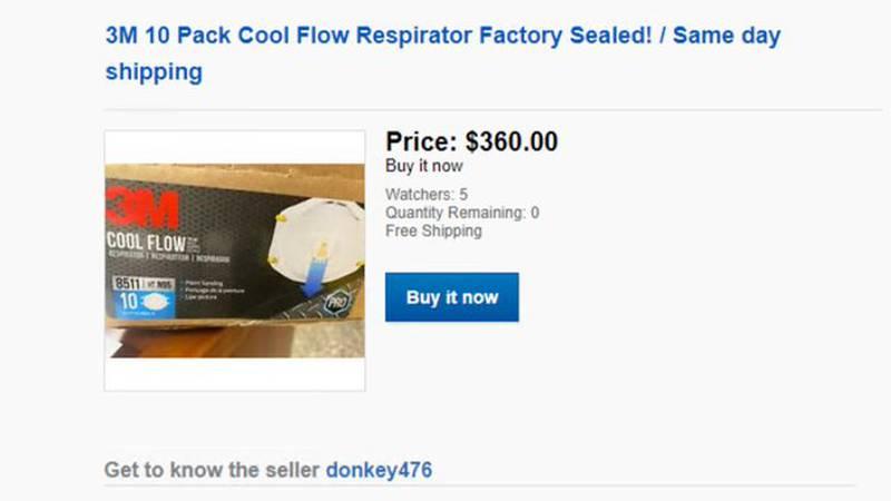 Screenshot of Donkey476's eBay account.